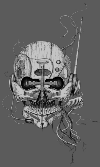 """Punk Rocker"" for t-shirt design by Eddie Yau | Illustrated by Ken Li"