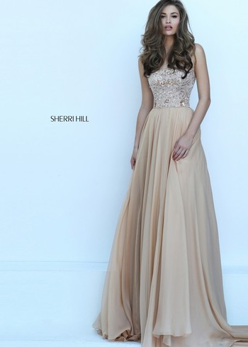 Sherri Hill 50305 Gold Beaded Strapless Chiffon Dress