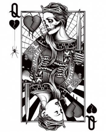 """Queen of Hearts/Queen of Hurts. Not sure why the """"dead Queen"""" is on top of the living one... I would"""