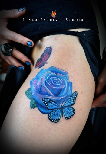 21 Unique Blue Rose Tattoo Designs - SloDive