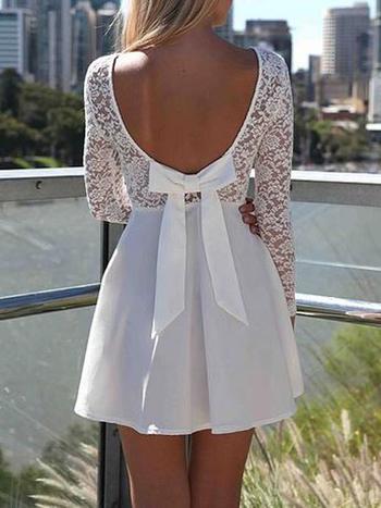 White Heart Lace Long Sleeves Dress - Choies.com