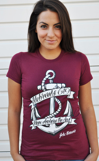 $17.99-HOPE ANCHOR MAROON -Christian T-Shirt by JCLU Forever Christian t-shirts
