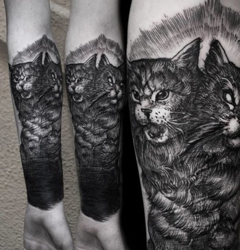 28 Sublime Blackwork Cat Tattoos | Tattoodo.com