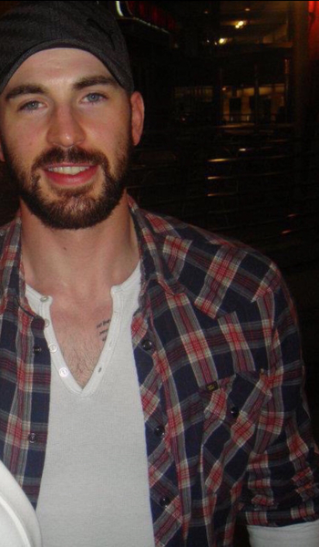 Chris Evans. His beard and plaid shirt make me want to just snuggle up next to him on the couch. nice