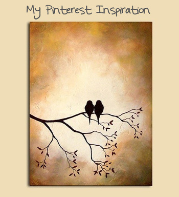 Birds on a Branch Silhouette Painting - Crafts by Amanda