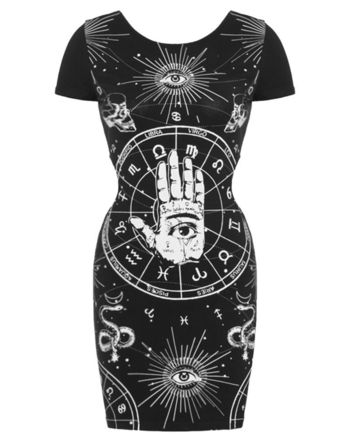 Jawbreaker Zodiac Mini Dress Black Goth Witchcraft Occult Tattoo