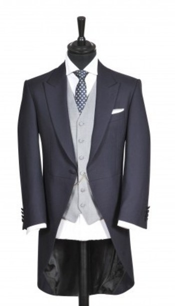 Navy slim fit tails with contrasting waistcoat