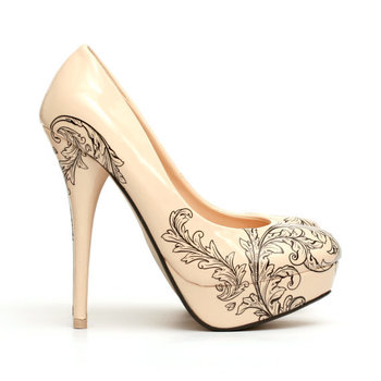 Floral Tattoo Shoes.Tattooed High Heel Pumps. Tattooed Nude Woman's Shoes.., via Etsy.