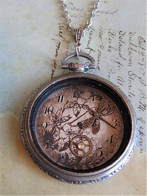 Steampunk jewelry necklace springtime pocket by steampunkjunq original