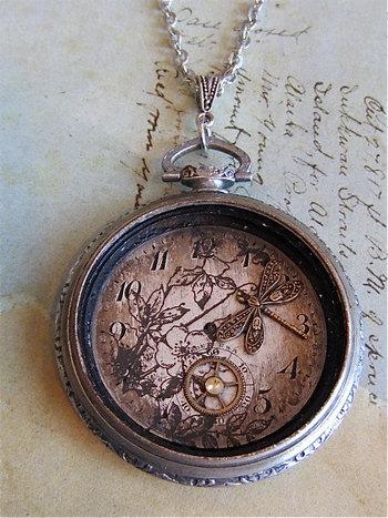 Steampunk jewelry necklace Springtime Pocket by steampunkjunq,