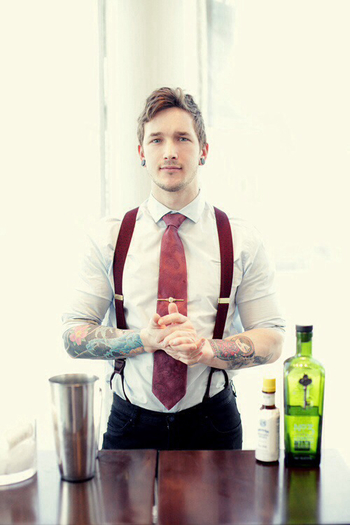 Suits and tattoos.