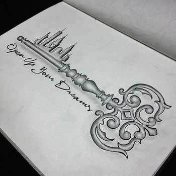 Stunning Fairytale Key Tattoo- Open up your dreams, change that city thing into a pretty palace and t