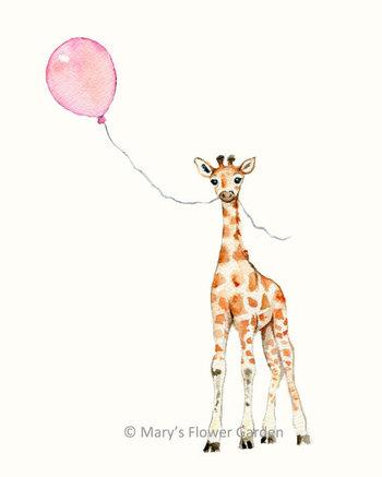 Giraffe With Pink Balloon Nursery Print- 5 x 7- girls room