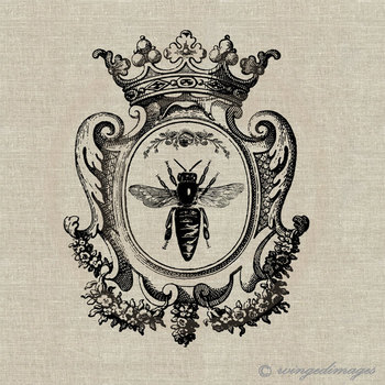Queen Bee. Image No.73, Digital Download Iron-On Transfer to Fabric (burlap, linen) Paper Prints (car