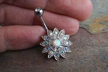 Sparkly White Fire Opal Flower Belly Button Ring