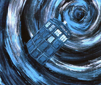 Doctor Who inspiration - LARGE - Travelling with the Tardis - Original unique blue, turquoise, black