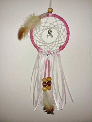 Pink Breast Cancer Awareness Car Dream Catcher by FaithEarthAndSoul
