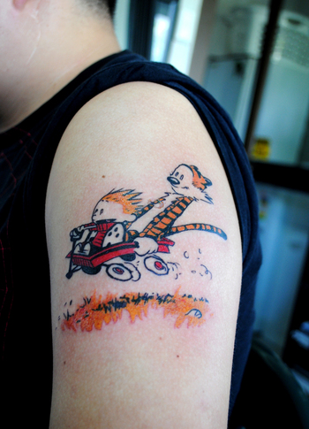 Calvin and Hobbes tattoo! @Molly Horn remember how much Mr Miller loved this comic !! haha