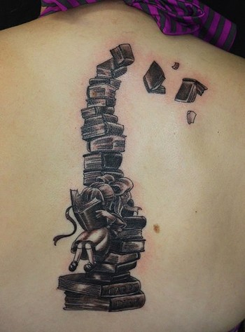 This I love. I would get this and have the girl sitting on the ground with stacks of books around her