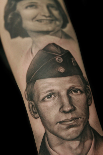 I want a tattoo done of my granddaddy when he was in the military!! He was and always will be my hero