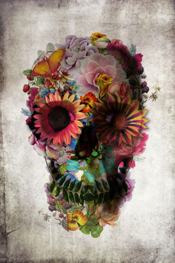 I liked this design on #Fab. Floral Skull Print 11x14