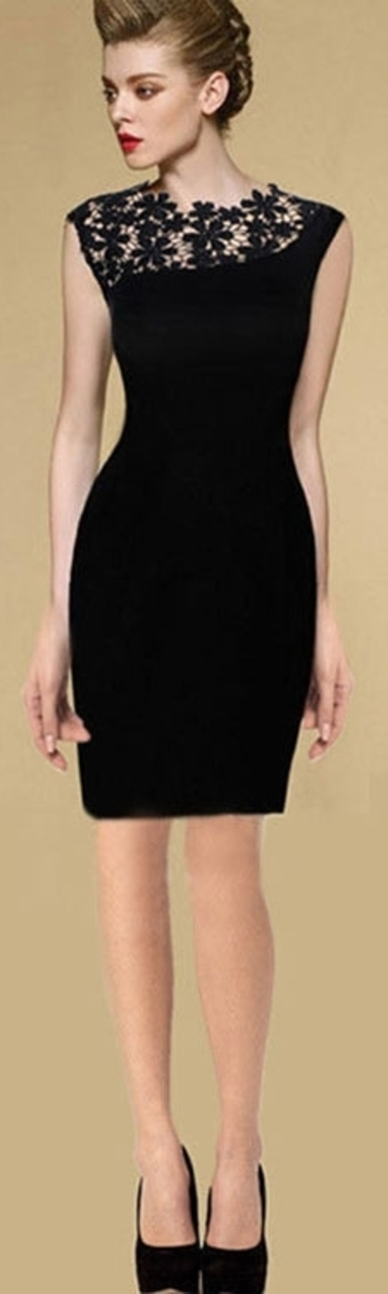 European Style Stunning Sexy Black Elegant Lace Dress FREE Shipping (S M L XL) http://www.firsturl.de